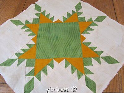 Antique c 1860s Feathered Star QUILT pc block CHEDDAR green frame