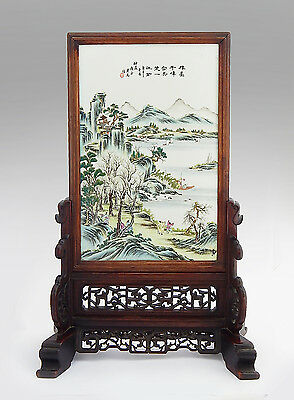 Antique Chinese Qing Dynasty Republic Period Porcelain Famille Rose Plaque Stand