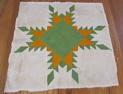 Antique c 1860s Feathered Star QUILT pc block CHEDDAR green frame #2