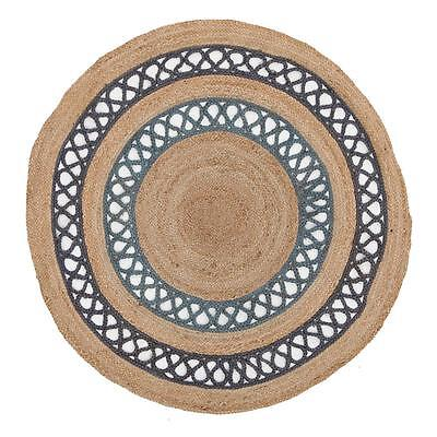 ALISON Beige Blue Braided Natural Jute Round Floor Rug 4 SIZES Free Delivery