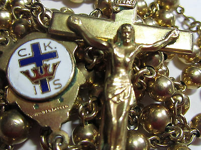 † Scarce Enameled 50 Year Member Knights Of Columbus Gold Over Sterling Rosary †