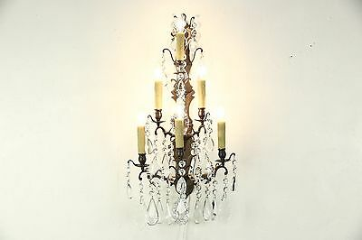 Crystal & Brass 6 Candle 1890's Antique Wall Sconce, Electified Light Fixture