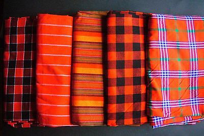 African Masai Maasai Tribal Shuka Throw Blanket Wrap Red Multi Kenya Fairtrade