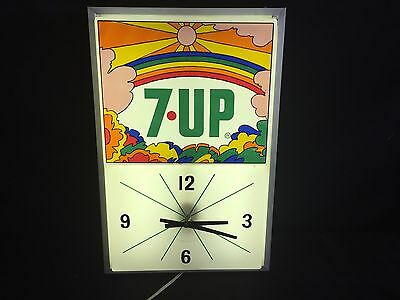 Vintage Authentic 7-Up Soda  PETER MAX  Lighted Clock Sign Electric 1970's