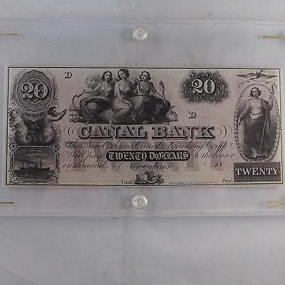 1850's $20 Canal Bank New Orleans Remainder Note Crisp Nice Color in Capital CH2