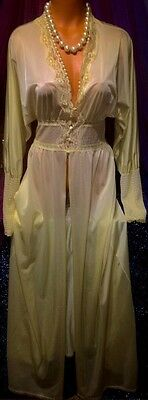 Vintage Yellow Victorian Vanity Fair Sheer Nylon Long Chantilly Lace Robe S