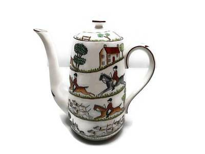 Crown Staffordshire Coffee Pot Bone China England Hunting Scene