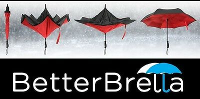 BETTER BRELLA Reverse Open Upside Down Umbrella BLUE and RED - AS SEEN ON TV