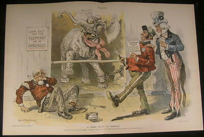 Finance Elephant Currency Dilemma Uncle Sam 1895 antique color lithograph print