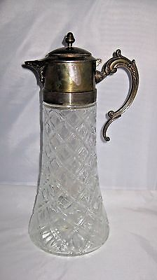 """LARGE Crystal Pitcher Silver Plate Top & Handle,13.5"""" TALL"""