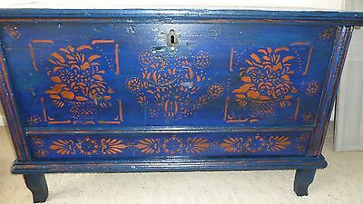 Stunning Antique Blanket Box Chest Trunk Scandinavian 19th Century