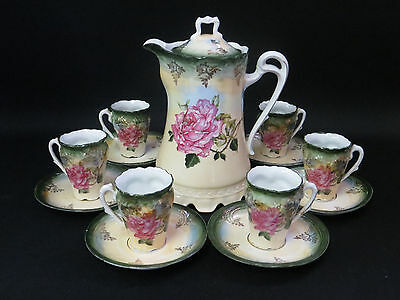 Antique German Porcelain Rose Hot Chocolate Set Hand Painted Tea Set 13 Pieces