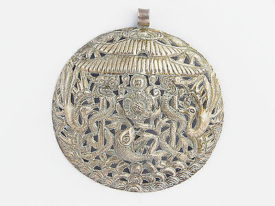19th C. Antique Chinese Qing Dynasty Mongolian Tibetan Sterling Silver Pendant
