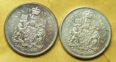 Canada  - 50 Cents, 1965 and 1966 (Two Coins) - BU