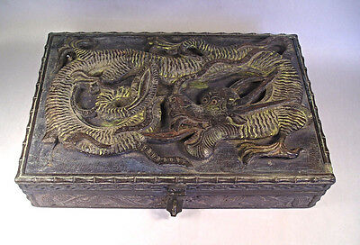 An Antique Chinese Carved Wood Box 4 Toed Dragon T49