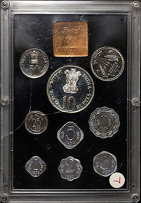 Republic of India 1972 Proof Set 9 Coins with Silver 10 Rupee - OGP and COA