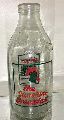 vintage glass KELLOGG'S CORN FLAKES CEREAL 1 PINT  MILK BOTTLE CORNELIUS ROOSTER