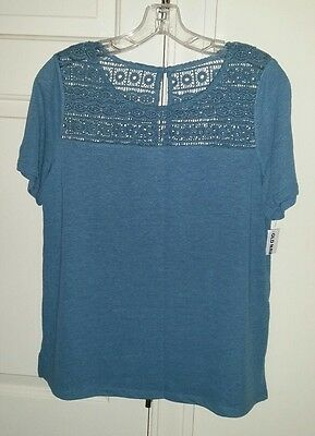 Old Navy Women's Blue Linen and Lace Short Sleeve Shirt Size Small NWT