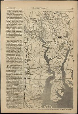 Seat of War Virginia Army of the Potomac Newmarket 1862 antique engraved map