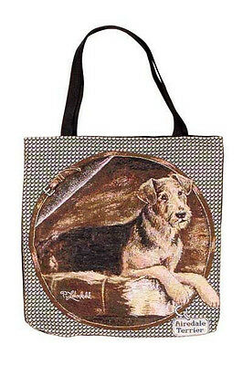 Airedale Terrier Tote Bag New Sturdy Handles Interior Pockets Cotton Blend USA
