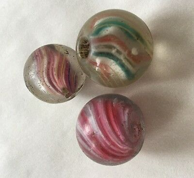* Lot Of Three Rare Antique German Marble Old African Trade Bead 21-22 mm 1800's