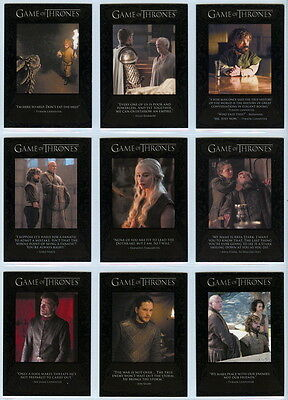 2016 Game Of Thrones Season 6 QUOTABLE chase set Q51-Q59 (9 cards)