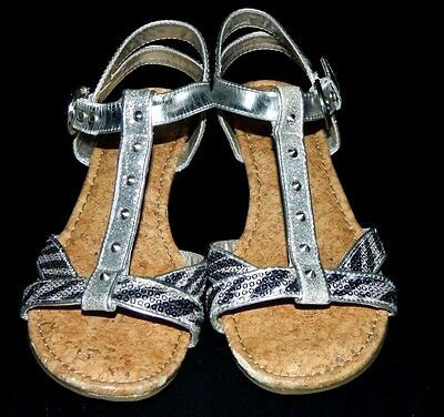Justice Girl's Sandals Youth Size 6 Silver with Black Zebra Straps