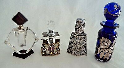 Vintage  Laugharne Solid Silver Inlay Perfume Bottle, Etc.