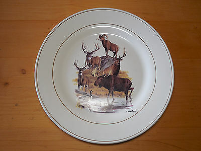 "Hautman Wilderness NORTH AMERICAN COLLAGE Set of 4 Dinner Plates 11"" Lodge"