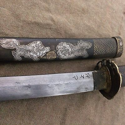 Collectable Japanese Sword Lion Dogs Wakizashi Shrap Signed Sword
