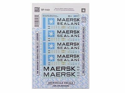 HO Maersk Sealand 40' & 45' International Container Decals Microscale #87-1481 r