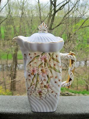 Antique Swirl Design Porcelain Chocolate/tea Pot Raised Hp Detailed Jonquils
