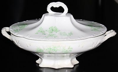 Antique GOODWIN POTTERY Covered Vegetable BOWL semi Porcelain White Green Handle
