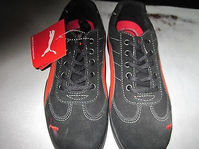 Puma Silverstone safety sneakers steel toe slip resistant red & black Size 8