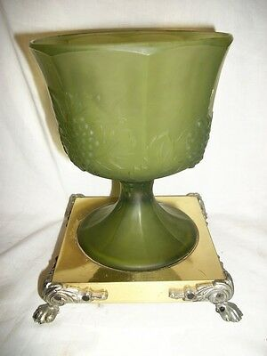 Frosted Green Glass Brass Plated Footed Grape Pattern Candy Dish 7 1/2'' Tall
