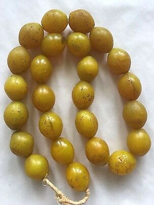 * Old Antique African Yellow Tomato Trade Glass Beads Strand 23 x 29mm Ethiopia