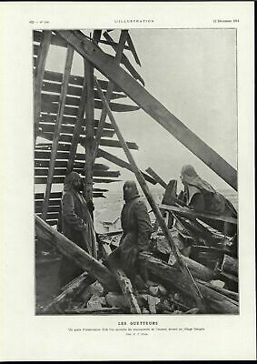 Watchman Ruins First Line of Defense World War I 1914 vintage historic print
