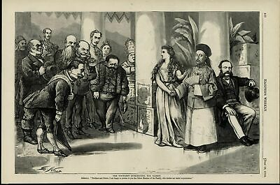 Columbia Introducing Chinese Man to World Nast 1868 great old print for display