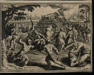 Fighting Funeral Pyre Murder Armored Warriors c.1700 antique engraved print