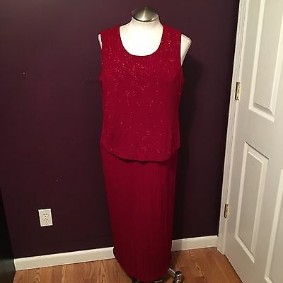 Gulila Mother of the Bride Groom Formal Dress Womens Size 18 Red Glitter