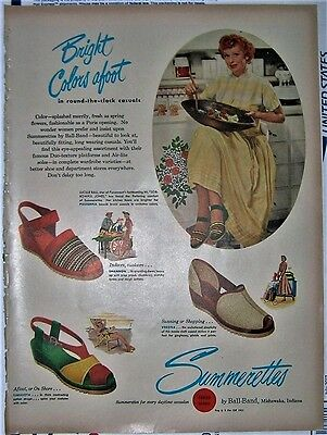 """1949 Rare Lucille Ball """"summerettes"""" Shoes Ad"""