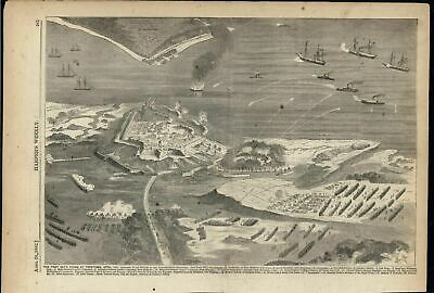 Yorktown Confederate Force Bombarded Siege Advancing 1862 antique engraved print