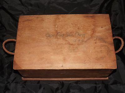 1843 Cape Cod Ma Sea Chest W/ Blown Aqua Glass Bottles Antique Maritime Wood Box