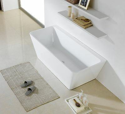1490 x 750 x 580 SQUARE BACK TO WALL ACRYLIC BATHTUB - DISCOUNT BATH PICKUP ONLY