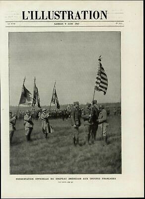 American Flag Presentation for French Troops nice 1917 great vintage print image