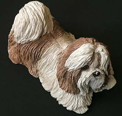 Vtg Sandra Brue Shih Tzu Long Haired Dog Figurine Sandicast Light Brown White