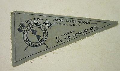 """Vint 1942-43 WW II gauze pennant - """"Hand Made Shoes for American Army"""" - 9.5"""""""