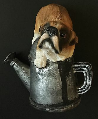 Boxer Dog On Watering Can Figurine Resin Decorative Puppy Canine Collectible