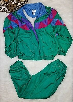 Vtg Bocoo Track Suit Set Windbreaker Jacket and Pant Active 90s Green Sz M