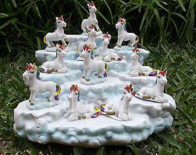 12 Mini RAINBOW Unicorn Miniature 4-5cm Ornaments Figurines CLOUD Display Stand